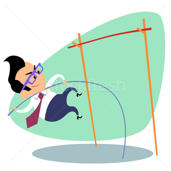 Businessman pole vault height business theme sports Stock photo © studiostoks