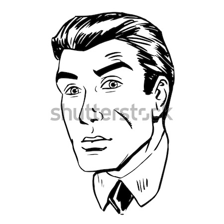 Sketch the man squinted, staring with one eye Stock photo © studiostoks