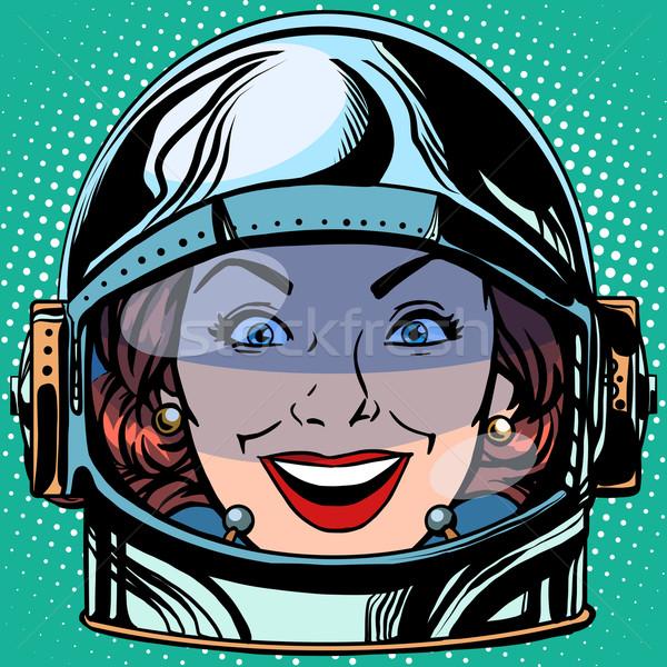 смайлик радости улыбка лице женщину астронавт Сток-фото © studiostoks
