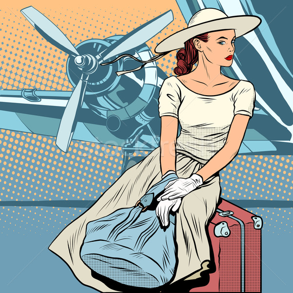 Dame voyageur aéroport pop art style rétro rétro Photo stock © studiostoks