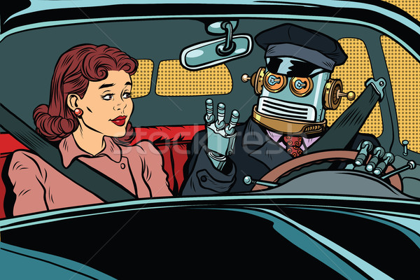 Vintage retro robot autopilot car, woman passenger in unmanned v Stock photo © studiostoks