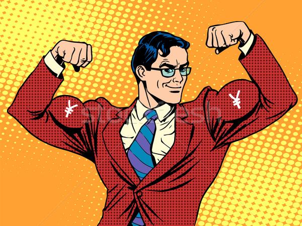 Biznesmen mięśni waluta jen pop art w stylu retro Zdjęcia stock © studiostoks