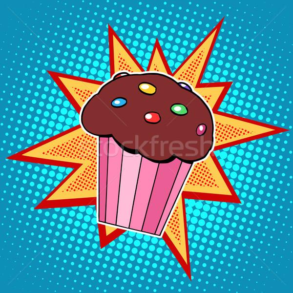 Muffin gâteau aliments sucrés pop art style rétro enfance Photo stock © studiostoks