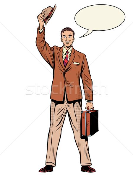 человека бизнесмен продавцом Поп-арт ретро-стиле приятный Сток-фото © studiostoks