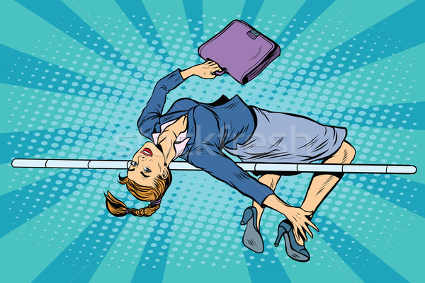 Zakenvrouw hoogspringen pop art retro-stijl business sport Stockfoto © studiostoks