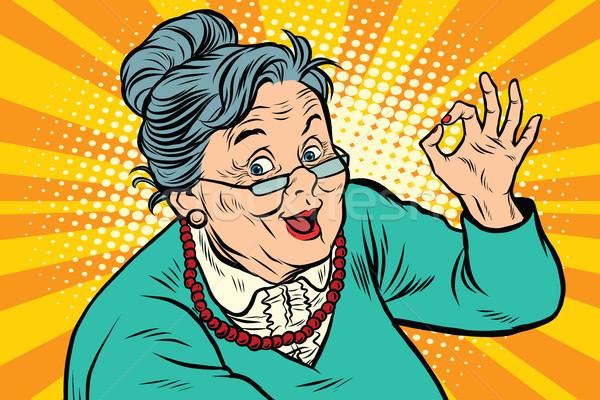 Abuela bueno gesto ancianos arte pop retro Foto stock © studiostoks