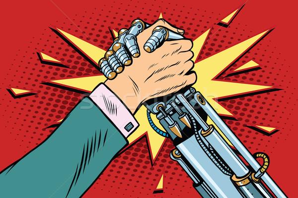 男 対 ロボット 腕相撲 戦う 対決 ストックフォト © studiostoks