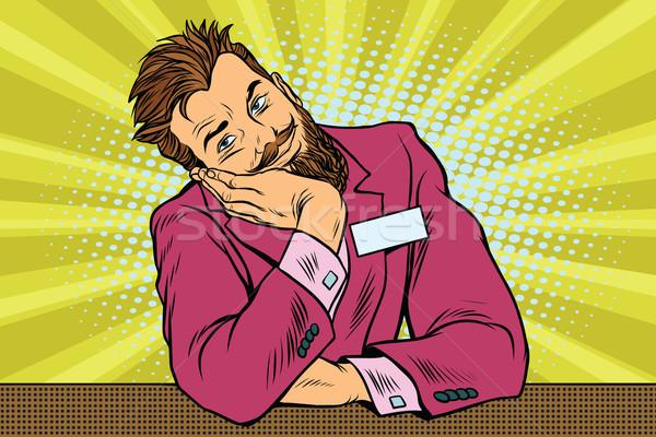 üzletember szakállas hipszter portás álmok pop art Stock fotó © studiostoks