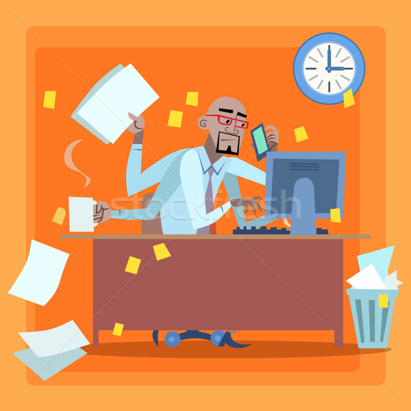 African businessman loaded with work time management Stock photo © studiostoks