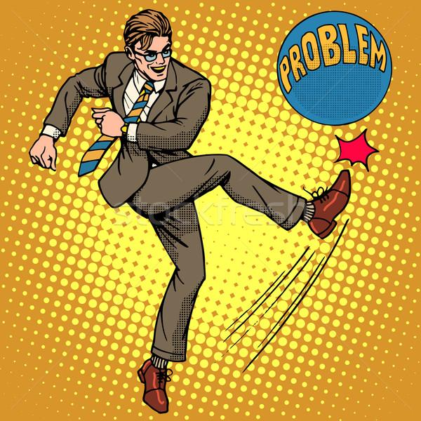 Hombre pelota nombre problema arte pop estilo retro Foto stock © studiostoks