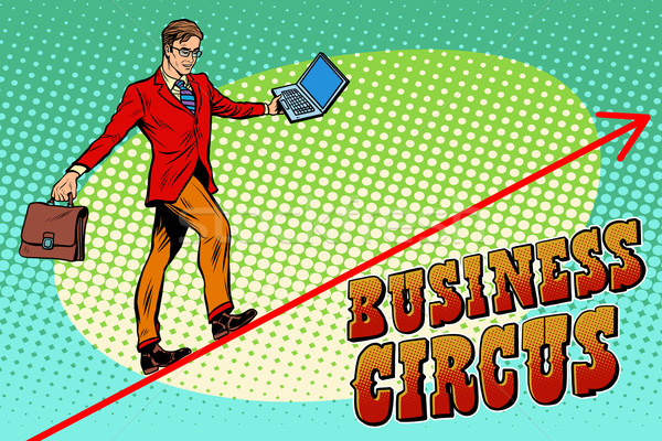Businessman acrobat business circus Stock photo © studiostoks