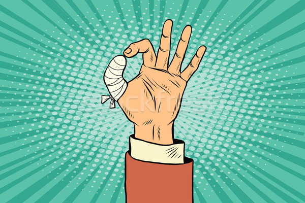 OK gesture bandaged finger Stock photo © studiostoks