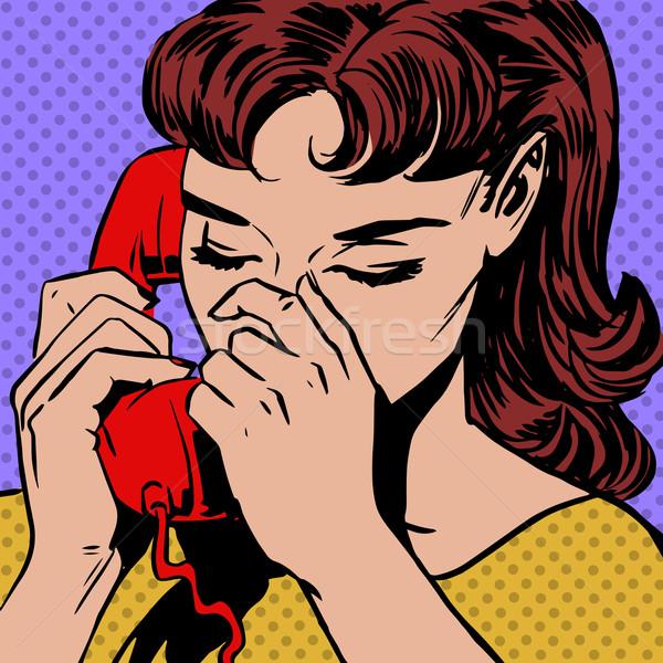 Femme téléphone pop art style rétro en demi-teinte Photo stock © studiostoks