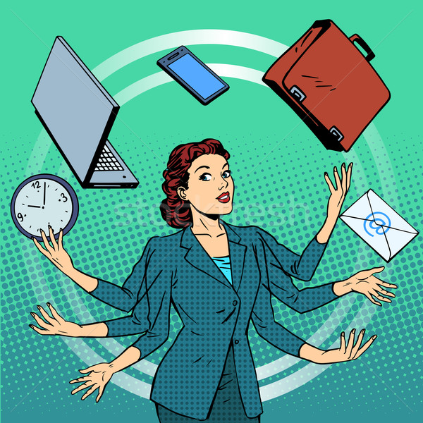 Businesswoman many hands business idea time management Stock photo © studiostoks