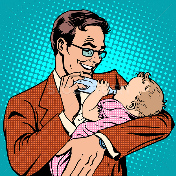 Glücklich Vater Ernährung neu geboren Baby Milch Stock foto © studiostoks