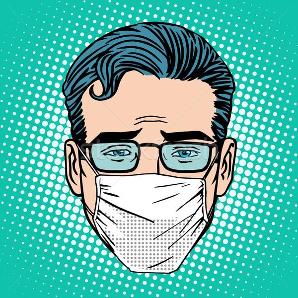 Stockfoto: Retro · pijnlijk · virus · infectie · medische · masker
