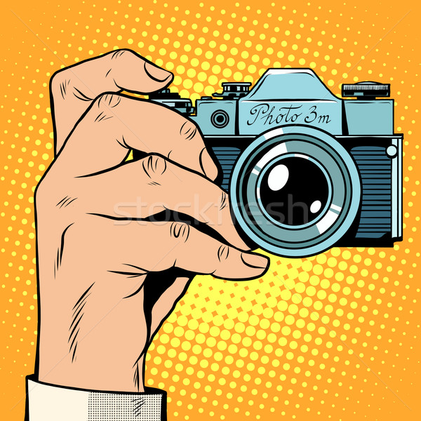 Retro camera momentopname pop art retro-stijl foto Stockfoto © studiostoks