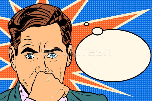 üzletember gondolkodó férfi pop art retró stílus üzlet Stock fotó © studiostoks