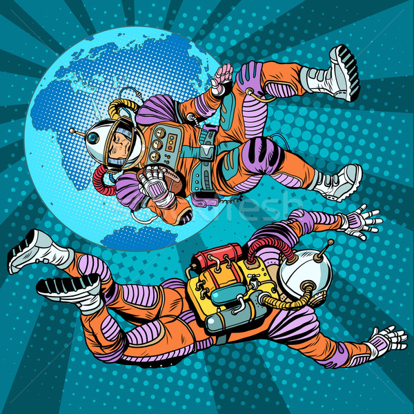 weightlessness astronauts in space over the earth Stock photo © studiostoks