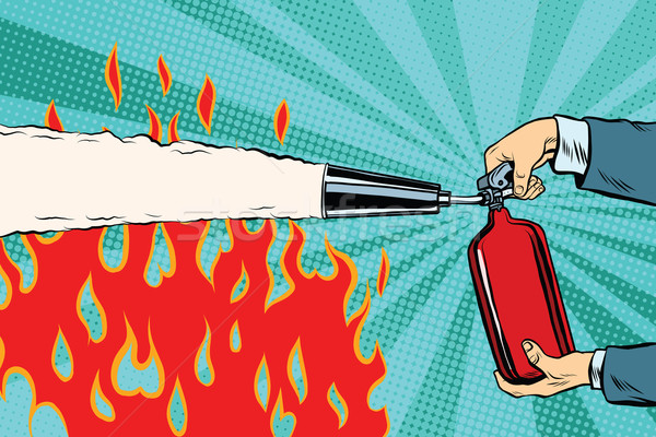 Extinguish the flames with a fire extinguisher Stock photo © studiostoks