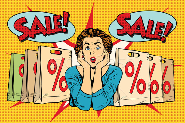 Pop art surprised woman sales discounts, the buyer Stock photo © studiostoks