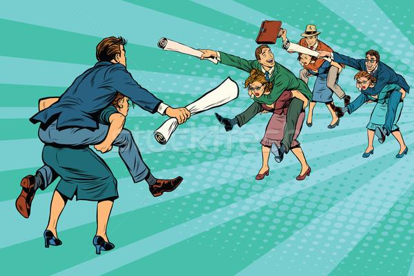Business battle gender inequality Stock photo © studiostoks