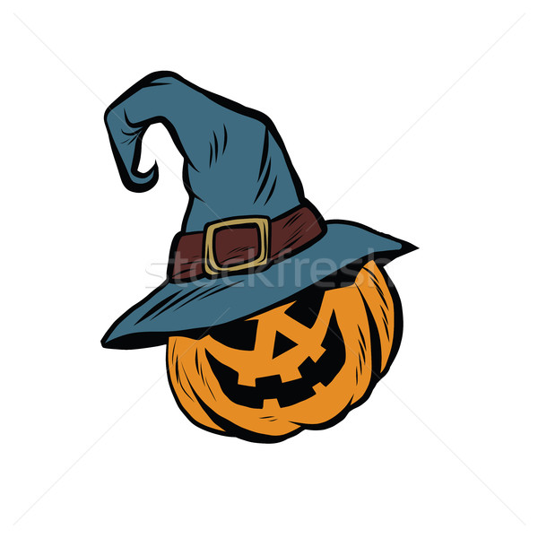 Funny Halloween pumpkin hat pilgrim Stock photo © studiostoks
