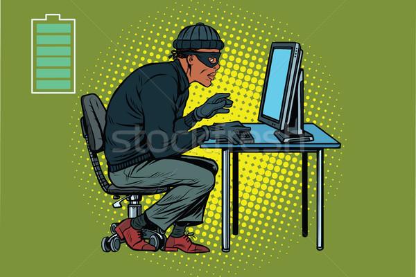 Afrikaanse hacker dief hacking computer pop art Stockfoto © studiostoks