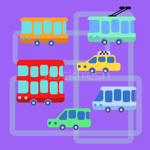 Collection urban public transport bus taxi trolley minibus Stock photo © studiostoks