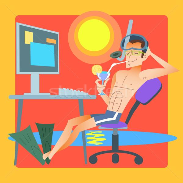 Freelancer resort computer man zwemmen Stockfoto © studiostoks