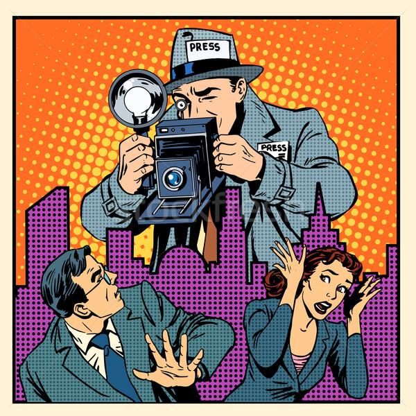 Medya paparazzi insanlar adam kadın panik Stok fotoğraf © studiostoks