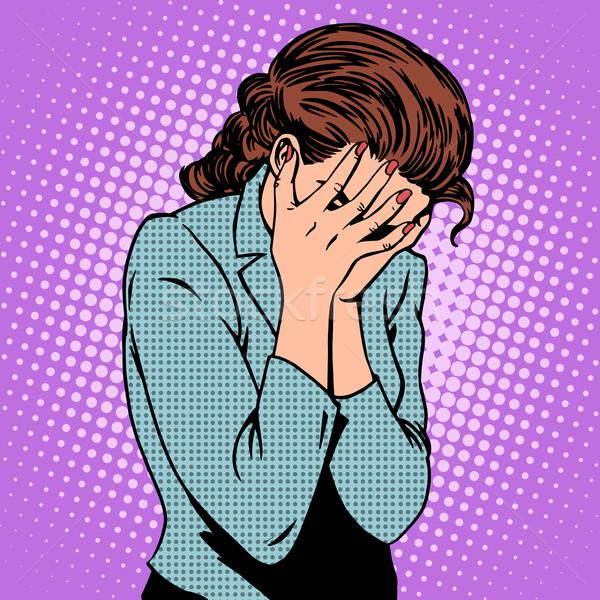 Nő érzelmek bánat pop art retró stílus család Stock fotó © studiostoks