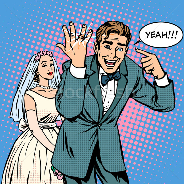 Happy bride and groom wedding Stock photo © studiostoks