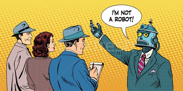 Robot elnöki jelölt interjú pop art retró stílus Stock fotó © studiostoks