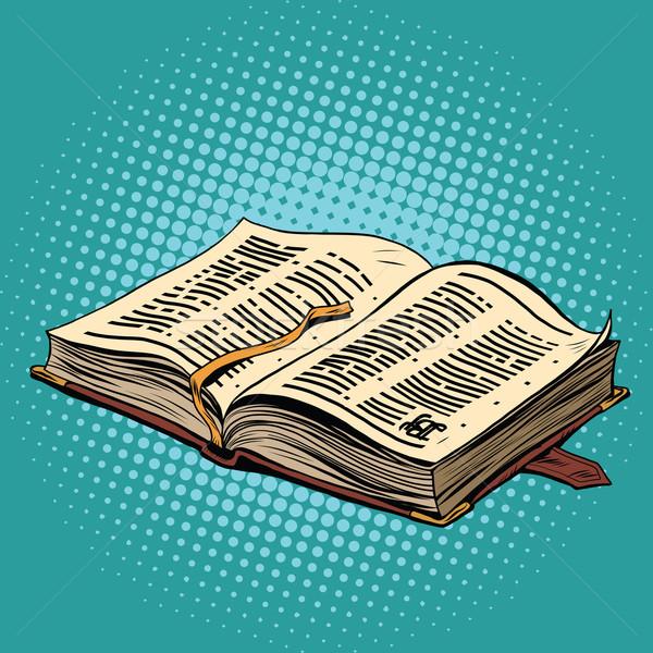 Libro viejo cuero Biblia religión arte pop retro Foto stock © studiostoks