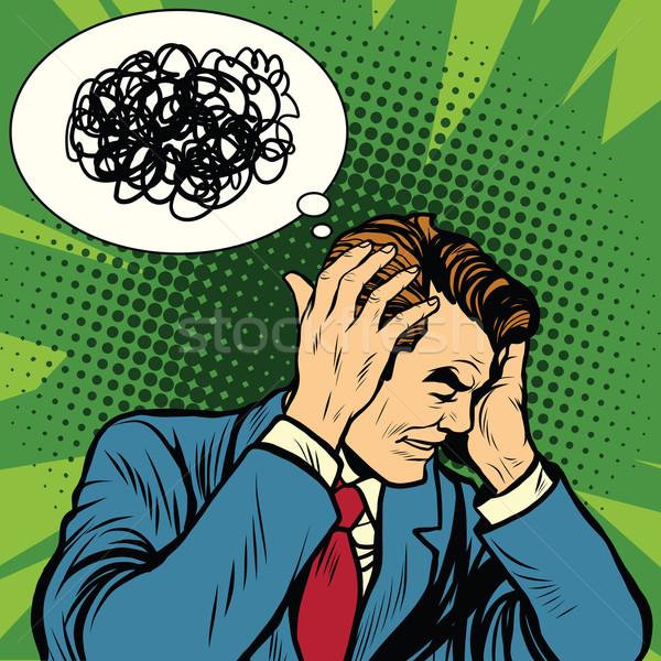 Maschio mal di testa confusi pop art retro psicologia Foto d'archivio © studiostoks