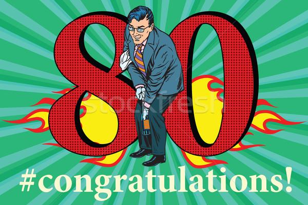 Stockfoto: Gefeliciteerd · 80 · verjaardag · evenement · viering · gelukkig