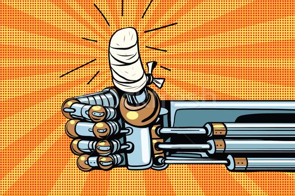 Thumb up like gesture, the robot hand is bandaged Stock photo © studiostoks