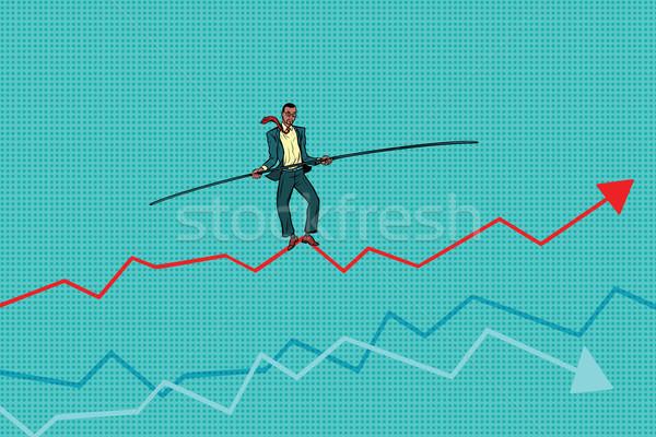 businessman tightrope Walke, schedule of sales Stock photo © studiostoks