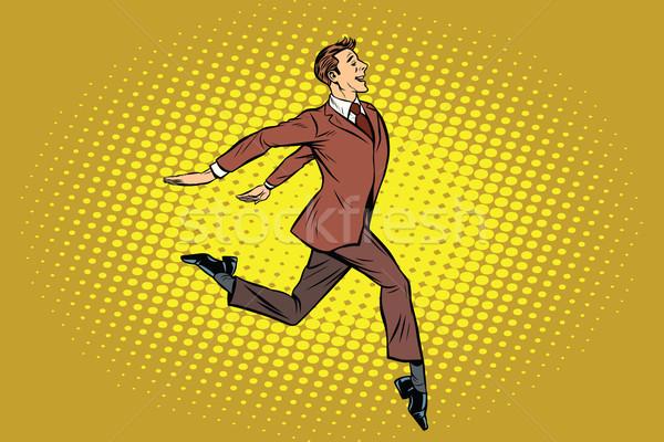 элегантный бизнесмен вперед Поп-арт ретро служба Сток-фото © studiostoks