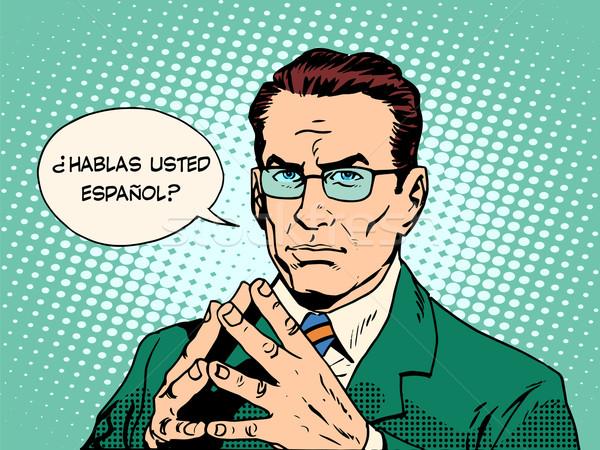 Beszéd spanyol fordító nyelv pop art retró stílus Stock fotó © studiostoks