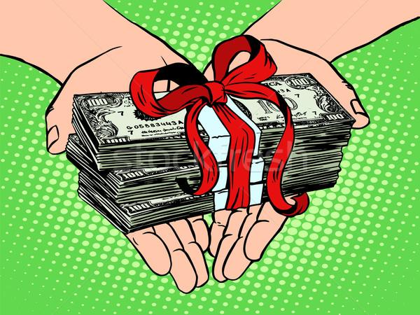 Para hediye finansal gelir pop art retro tarzı Stok fotoğraf © studiostoks