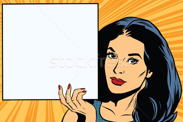 женщину плакат Поп-арт вектора ретро Сток-фото © studiostoks