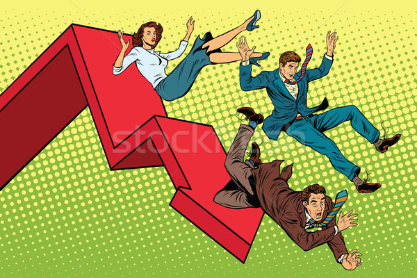 Stock photo: Business men and woman financial collapse