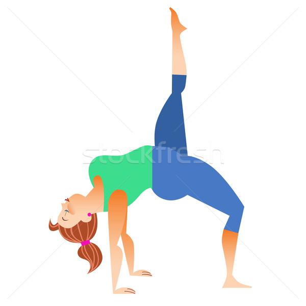 Normaal weinig vet vrouw yoga beetje Stockfoto © studiostoks