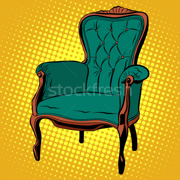 Green soft chair furniture armchair vector Stock photo © studiostoks