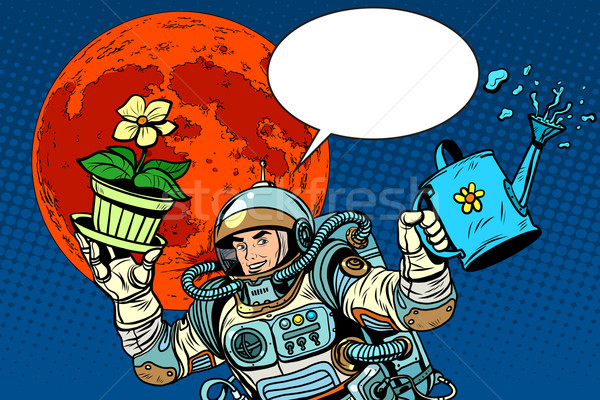 colonization Mars astronaut plants irrigation Stock photo © studiostoks