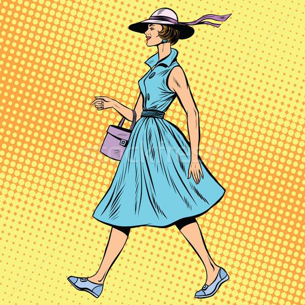 retro lady in summer dress and hat Stock photo © studiostoks
