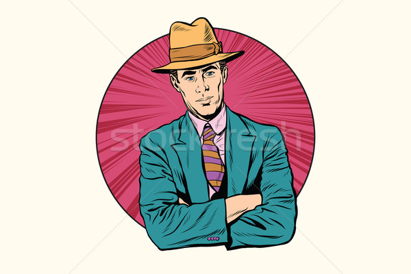 Retro male gentleman in the hat Stock photo © studiostoks