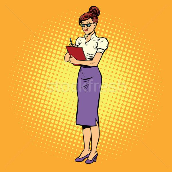 Jonge vrouw secretaris pop art retro zakenvrouw werk Stockfoto © studiostoks